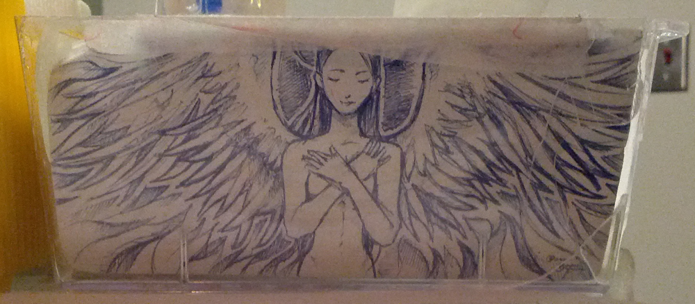 A drawing of an angel by a patient. Found on a blood test cart.